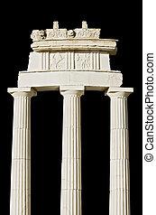 (detail), griekse , oud, reproductie, tempel