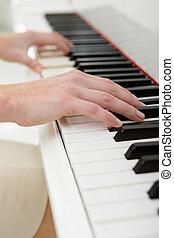 detail, hraní, názor, klavír, ruce