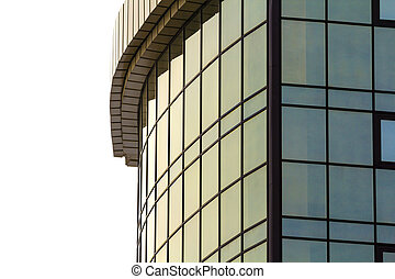 Detail image of modern glass building with many windows