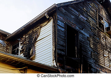 Detail images arson from home that was abandoned after a large housefire.