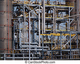 Detail industrial pipes - Detail of the pipes of a chemical ...