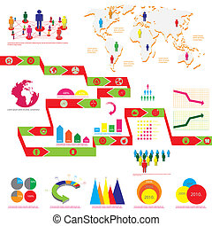 Detail info graphic vector illustration. World Map and...