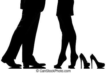 detail legs feet couple man and woman lovers teenderness -...