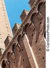 detail, mangia's, tower., siena