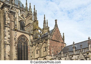 Detail medieval Dom Cathedral of Dutch city Utrecht
