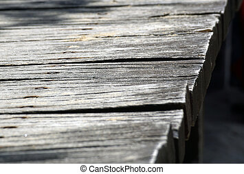 detail of a blurred wooden walkway