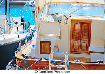 detail of a boat in Porto Cervo harbor