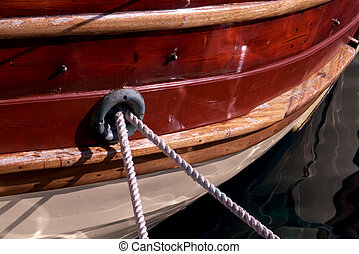 detail of a boat moored