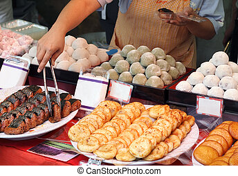Japanese street food stand - Detail of a characteristic...