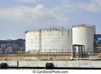 chemical plant - detail of a chemical plant in the harbour...