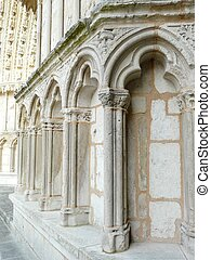 Detail of a church facade in France