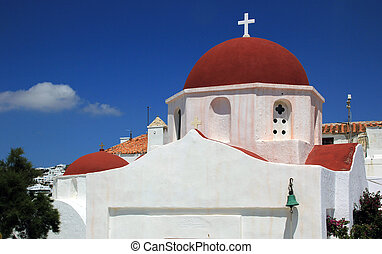 Detail of a church in Mykonos island, Greece