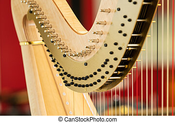 Detail of a classical harp, musical instrument