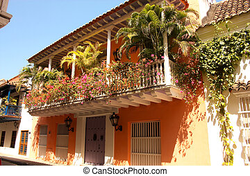 Detail of a colonial house. balcony with flowers and plants