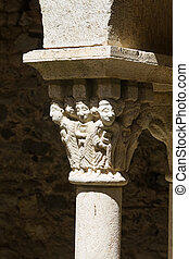 Detail of a column of the monastery of Sant Pere de Rodes, Spain