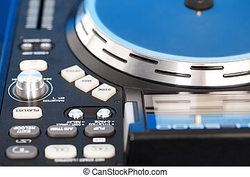 Detail of a DJ turntable