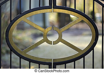 Detail of a fence gate door