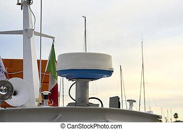 detail of a fishing boat radar