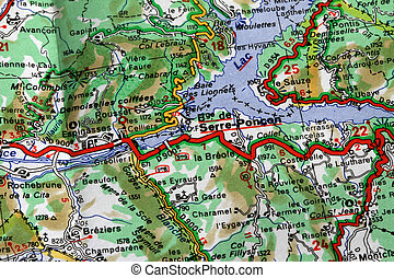 geographical map - Detail of a geographical map of a french ...