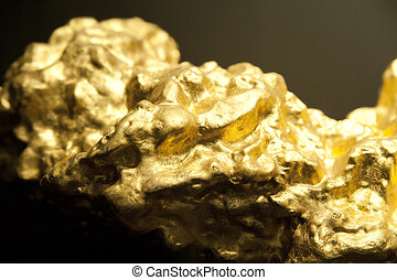 Detail of a golden Nugget with Shallow depth of field