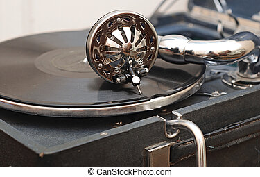 detail of a gramophone needle on a disc