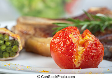 detail of a grilled tomato