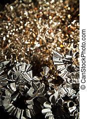 Detail of a heap of CNC metal shavings.