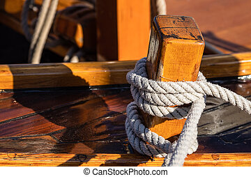 Detail of a historical sailing ship in Dierhagen, Germany