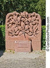 detail of a jewish graveyard - sunny illuminated sculpture...