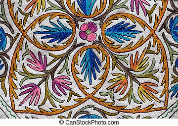 Detail of a Kashmiri carpet patterns. Srinagar, India.