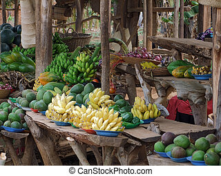 detail of a market in Uganda (Africa) with lots of fruits and vegetables