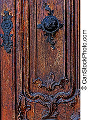 Detail of a medieval wooden door 5