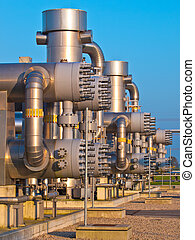 Detail of a modern natural gas processing plant in the Netherlan