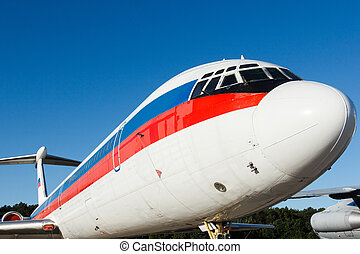 detail of a passenger plane close-up - large heavy modern...