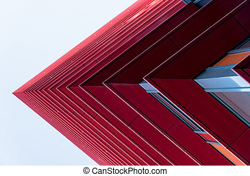 Detail of a red skyscrapers in the sky