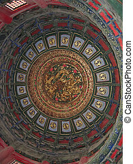 Detail of a roof inside a temple - Forbidden city - Beijing...