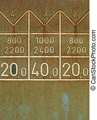 detail of a rusty plate of metal with numbers on an old train