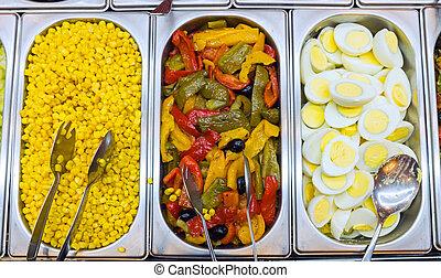 Detail of a salad buffet