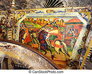 Detail of a Sicilian cart richly decorated
