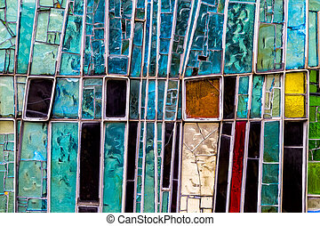 Detail of a Stained Colorful Window. Abstract Texture Background
