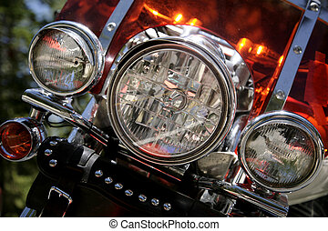 motorcycle - detail of a the headlights of a motorcycle