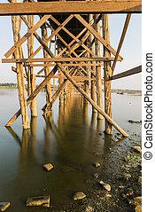 U Bein Bridge - Detail of a U Bein Bridge over Taungthaman...