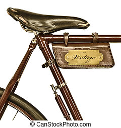 Detail of a vintage bicycle isolated on white