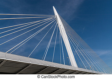 cable stayed bridge - Detail of a white cable stayed bridge