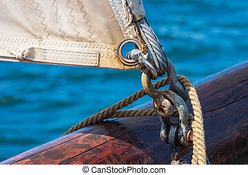 Detail of a windjammer on the Hanse Sail in Rostock, Germany