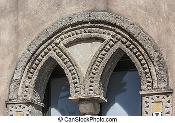 Detail of a window of Villa Cimbrone in Amalfi Coast, Italy, Europe