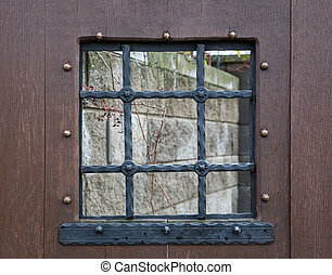 Detail of a window with bars, retro