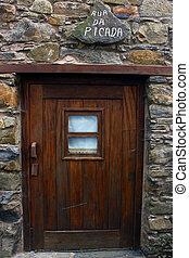 Detail of a wood door