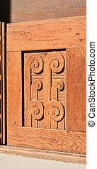 Detail of a wooden door. Thread