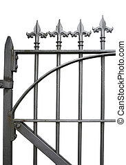 detail of a wrought-iron gate isolated on white with...